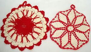 2 Vintage Red & White Crocheted Potholders Hot Pads Trivets