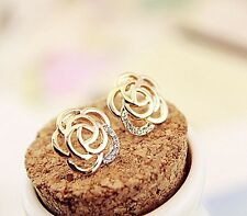Earrings 9ct Gold GF Diamond Rose Stud Wedding Gift Summer Holiday Love