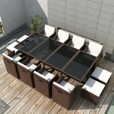 #vidaxl 33pc Brown Rattan Wicker Outdoor Dining Furniture Set Garden Table Chair