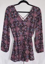 Forever 21 Romper Women's Size M Long Sleeve V Neck Multicolor Retro Art Nouveau