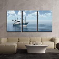 "Wall26 - Fishing Trawler - Canvas Art Wall Decor - 16""x24""x3 Panels"