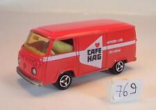 Majorette 1/60 Nr. 244 VW Volkswagen T2 Fourgon Kasten rot Cafe Hag Nr. 4 #769