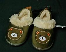 Toddler baby Boys Brown Teddy Bear Slippers Sz M 7-8 NWT