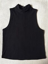 Black Sleeveless Top Polo Neck Zipper Knitted Cotton Soft Fabric Size XS Stretch