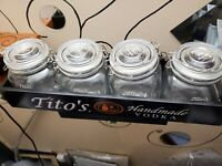 Titos Handmade Vodka Glass Sealed Canister Jars w wood tray  Set Of 4 Brand blk