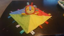 Taggies Bright Textured Patchkins Lion Plush Security Blanket Yellow Green Red