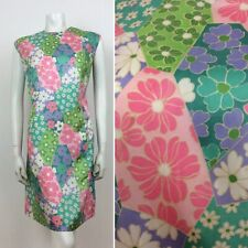 60S VINTAGE DAISY FLORAL PASTEL PINK BLUE GREEN DRESS 18