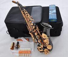 Prof Black Nickel Curved Soprano Sax Saxophone Ablone Key High F W/Case 10x Reed