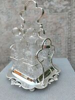 Exceptional Art Nouveau Antique English Condiment Set Fine Crystal Silver Plate
