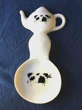 Cow Blk / Wt New Handmade Ceramic Porcelain Tea Bag Holder Spoon Rest Kiln Fired