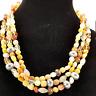 Womens Coldwater Creek Necklace Layered Muti strand quartz polished stone