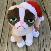 "Grumpy Cat Sitting Christmas 7"" Tall Santa Hat Holiday Plush Stuffed Animal NWT"