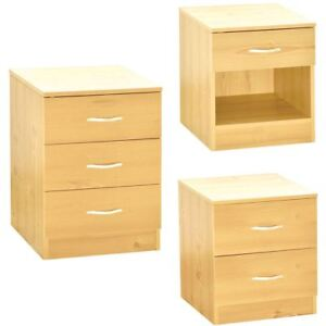 Riano 1 2 3 Drawer Bedside Chest Wood Bedroom Storage Furniture Unit Pine