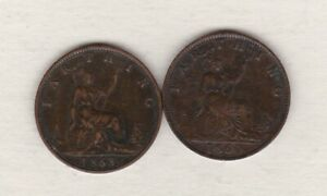 1860 & 1868 VICTORIA FARTHINGS IN GOOD VERY FINE CONDITION