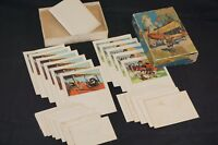 Antique 1900s Box of Illustrated Stationery for Little Folks Unused Biplane USA