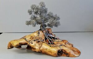 "Silver Wire Bonsai Tree Sculpture On Wood  Base 9"" tall - Handcrafted"