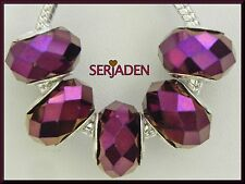 5 Dark Purple Faceted Beads fit European Style Jewelry 9 * 14 w/ 5 mm Hole B027