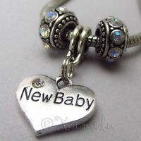 New Baby European Heart And Birthstone Beads For Large Hole Charm Bracelets