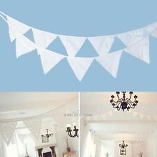 White 3.2m Triangle 12 Flags Pennant String Banner Bunting Wedding Party Decor