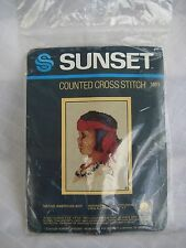 "Sunset ""Native American Boy"" Counted Cross Stitch Kit #1501 7.5"" x 9.5"""