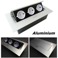 Tischsteckdose 3er Aluminium Energiestation Küchensteckdose Steckdose versenkbar