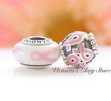Pandora Breast Cancel Awareness 2 charm Gift Set Pink Ribbon 790928,  790755EN24