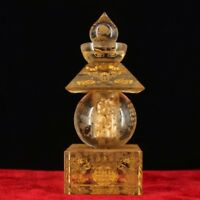 Chinese Perfect Buddhist crystal hand-engraved scripture stupa statue