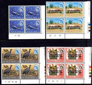 RHODESIA 1966 INDEPENDENCE OPTS MNH PLATE BLOCKS, SG 359-372, 14 BLOCKS
