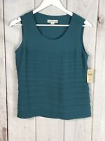 Coldwater Creek Womens  Lined Teal Sleeveless Pleated Blouse Top Size XS (4) NWT