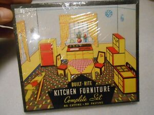 Sealed Vintage Warren Paper Built Rite Doll House Kitchen Furniture Kit in Box