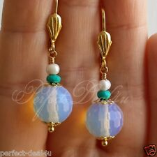 White Opal & Turquoise & Pearls Gold Plated Leverback Round Cute Earrings