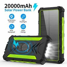 20000mAH Portable Phone Solar Charger, Qi Wireless Solar Power Bank-Rainproof