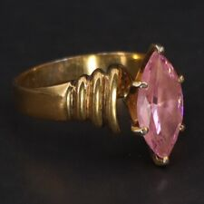 Gold Cocktail Ring Size 7.5 - 5g Sterling Silver - Pink Cubic Zirconia Marquise