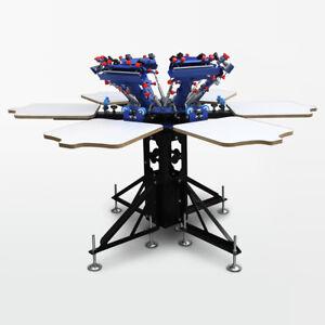 6x6 Siebdruckkarussell für sechsfarbigen Siebdruck | Siebdruckmaschine | T-Shirt