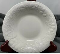 "Set of 4 GIBSON FRUIT ALL WHITE  Embossed Fruit Round 8"" Soup Cereal Bowls"