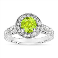 Peridot and Diamond Engagement Ring, 1.30 Carat 14K White, Rose, Black Gold