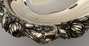 WHITING AESTHETIC STERLING OVAL BOWL WITH CAST APPLIED WATER LILIES & PADS 1885