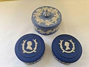 Wedgwood Dark Blue Light Blue Jasperware Lidded Jars x 3 Job Lot