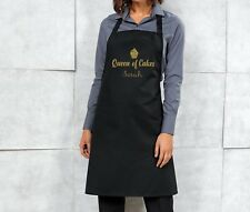 Personalised Queen of Cakes Apron - Black/Gold - Christmas Birthday Gift Present