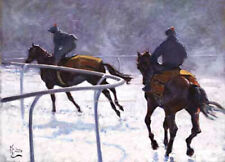 Race Horses in the Snow Christmas Cards pack of 10 by Malcolm Coward C343X