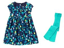 Gymboree Happy Bluebird Navy Blue Dot Pleated Dress & Tights Girls 4T 5T NEW NWT