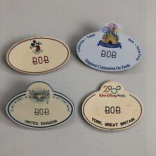 (4) Vintage Disney World Cast Member Employee Issued Name Badge Tag Lot - BOB