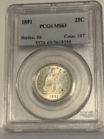 1891 Seated Liberty Quarter PCGS MS 63