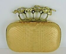 ALEXANDER MCQUEEN Metallic Coral Beige Python Skull Knuckle Box Clutch Bag Italy