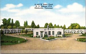 Linen Postcard A and W Motor Court in Clarksville, Tennessee~137671