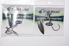 2 packs fish head spin stand up 3/8oz smokin shad ball bearing swivel