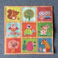 4 x Single Paper Table Napkin/Decoupage/Scrapbooking/Cartoon Woodland Animals