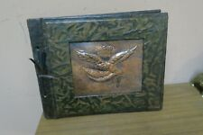 "1976 Leather Photo Album Cover with Eagle Copper Relief Picture Plate 11"" x 13"""