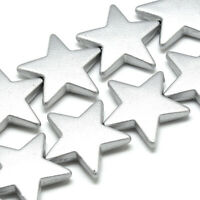 10x Spray Painted Acrylic Star Beads Opaque Highlight Large Spacers Silver 26mm