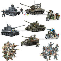 WWII Military Army T-34/85 M26 M4 38T  Tiger Tank Soldier Figures Building Block
